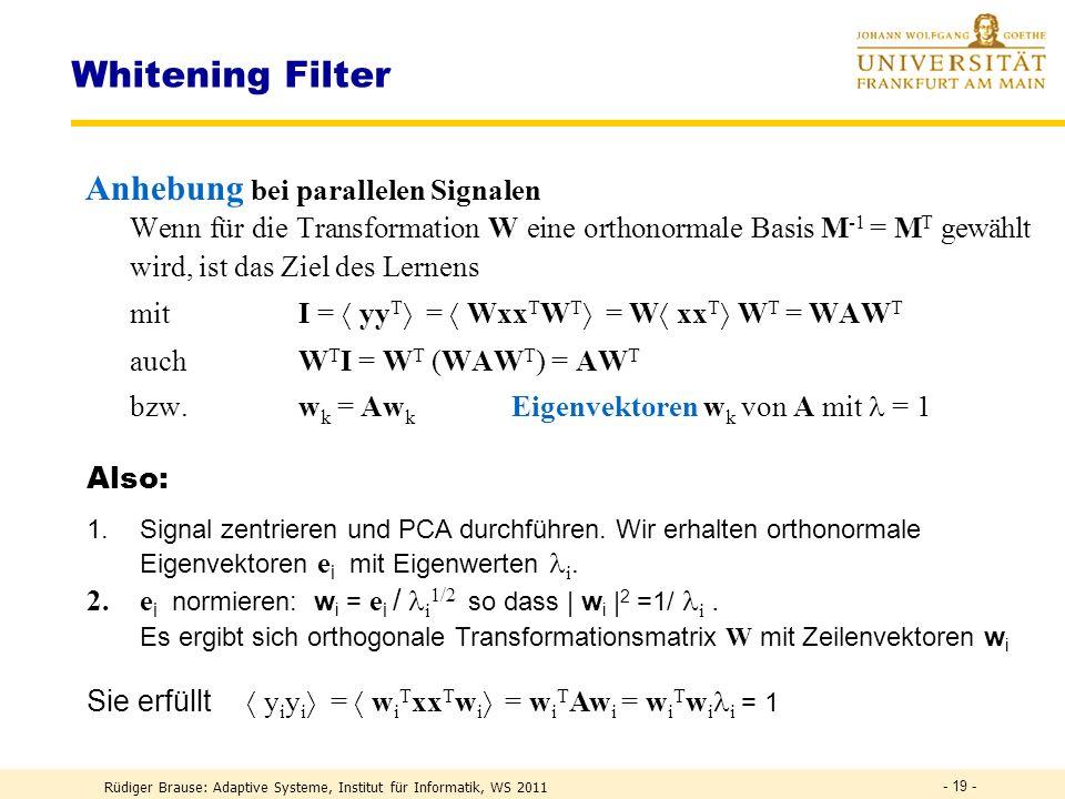 Whitening Filter Anhebung bei parallelen Signalen