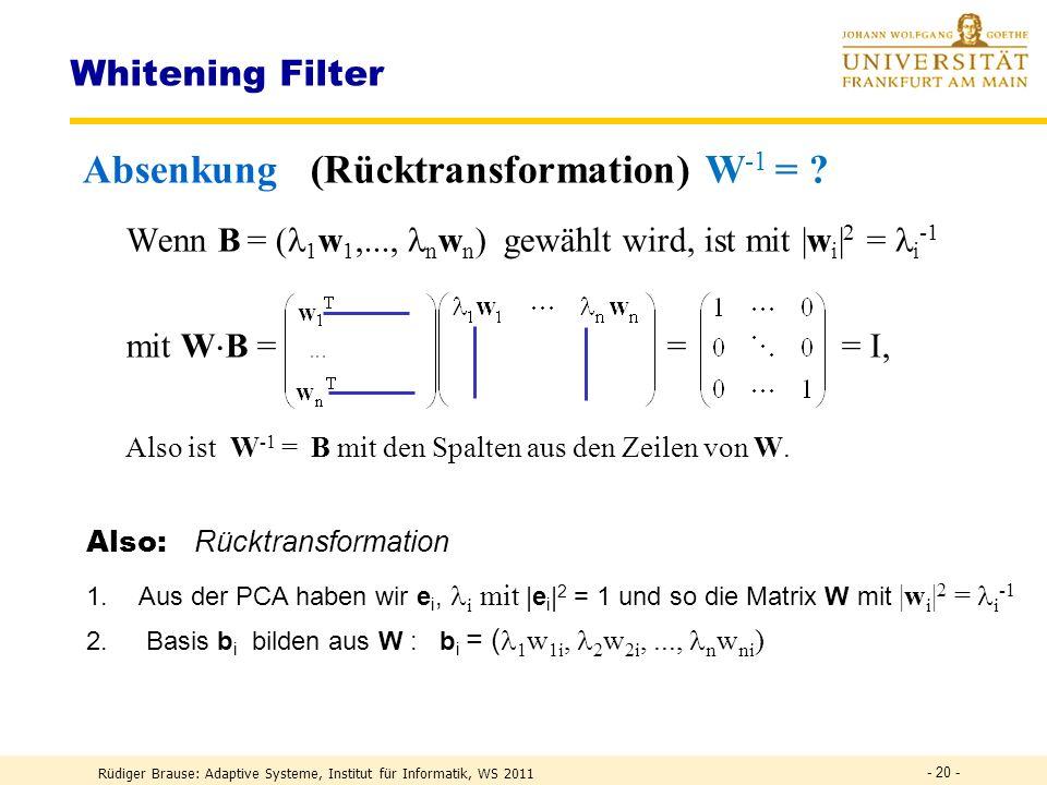 Absenkung (Rücktransformation) W-1 =