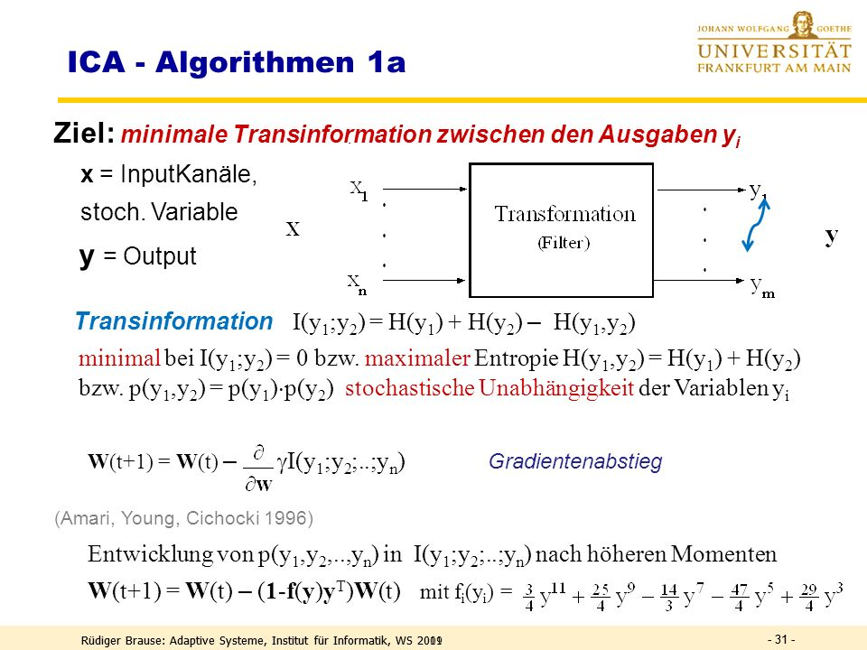 ICA - Algorithmen 1a Ziel: minimale Transinformation zwischen den Ausgaben yi. x = InputKanäle, stoch. Variable.