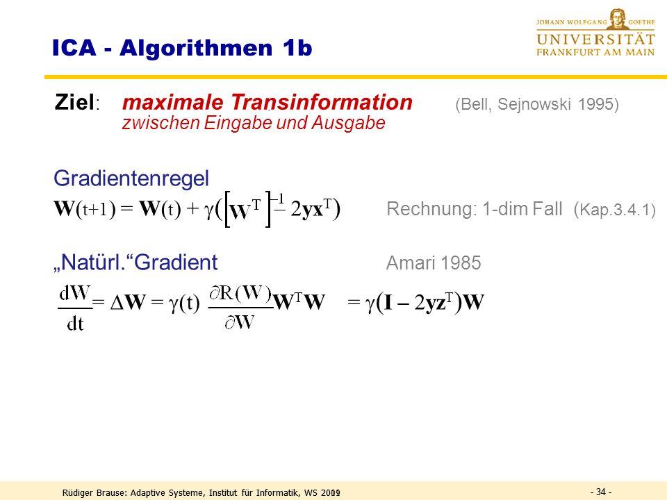 ICA - Algorithmen 1b Ziel: maximale Transinformation (Bell, Sejnowski 1995) zwischen Eingabe und Ausgabe.