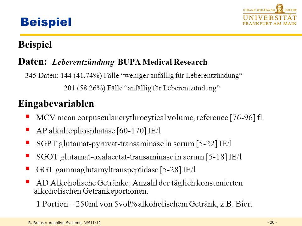 Beispiel Beispiel Daten: Leberentzündung BUPA Medical Research