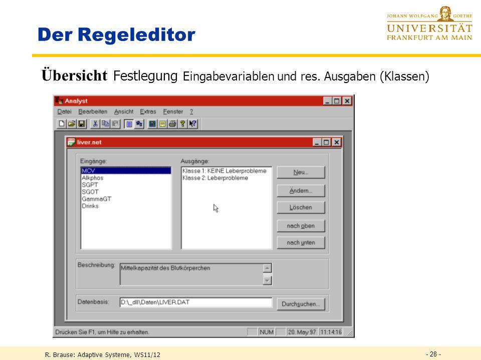 Der Regeleditor Übersicht Festlegung Eingabevariablen und res.