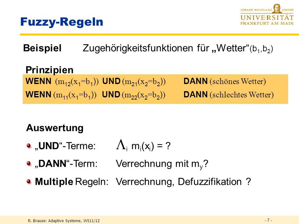 """Fuzzy-Regeln Beispiel Zugehörigkeitsfunktionen für """"Wetter (b1,b2)"""