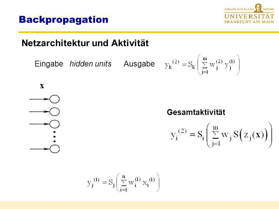 Backpropagation Netzarchitektur und Aktivität x