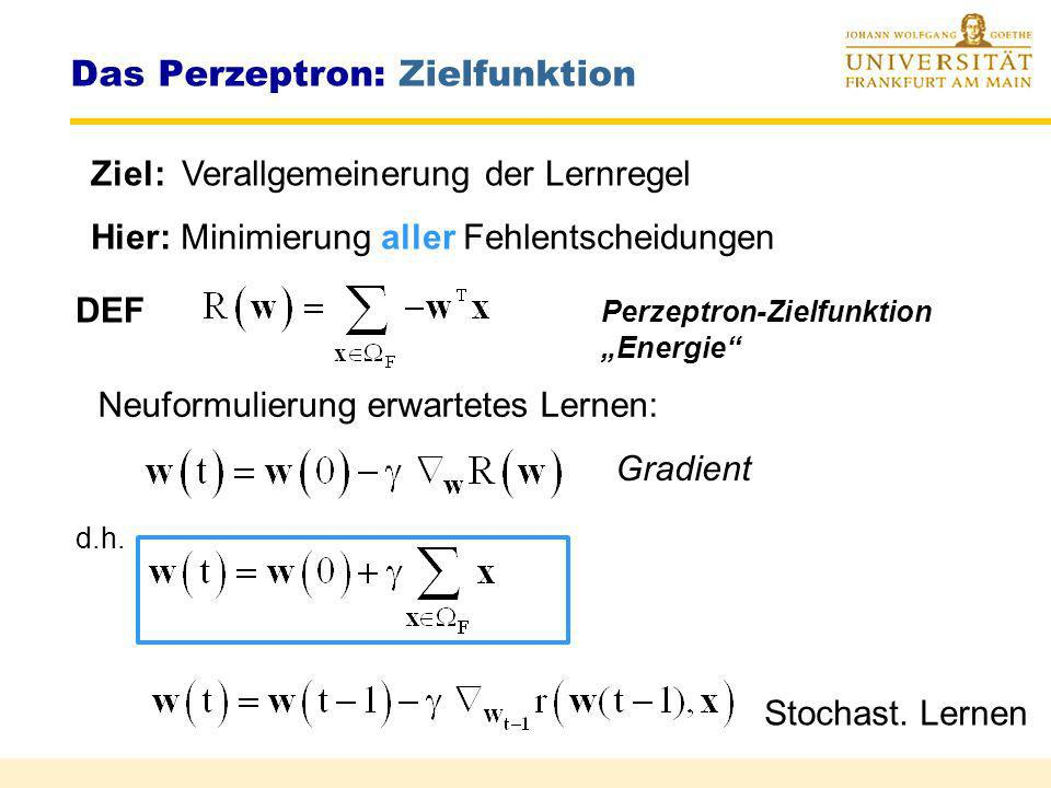 Das Perzeptron: Zielfunktion