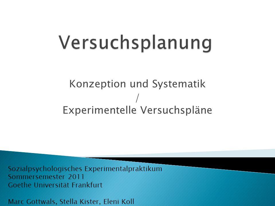 Konzeption und Systematik / Experimentelle Versuchspläne