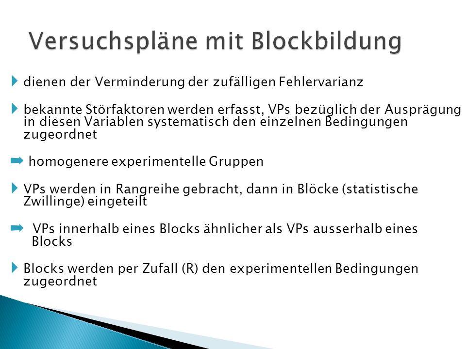 Versuchspläne mit Blockbildung