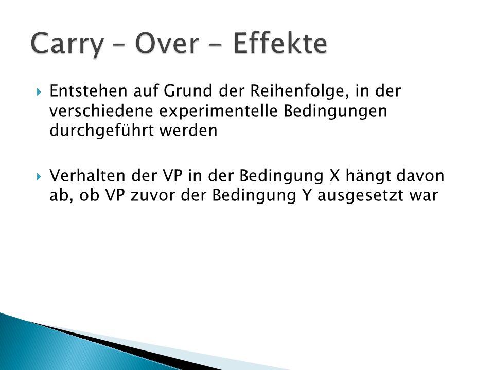 Carry – Over - Effekte Entstehen auf Grund der Reihenfolge, in der verschiedene experimentelle Bedingungen durchgeführt werden.