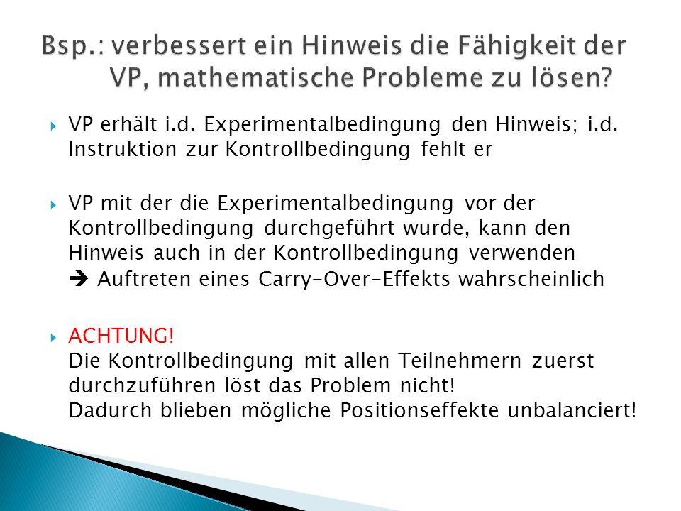 Bsp.: verbessert ein Hinweis die Fähigkeit der VP, mathematische Probleme zu lösen