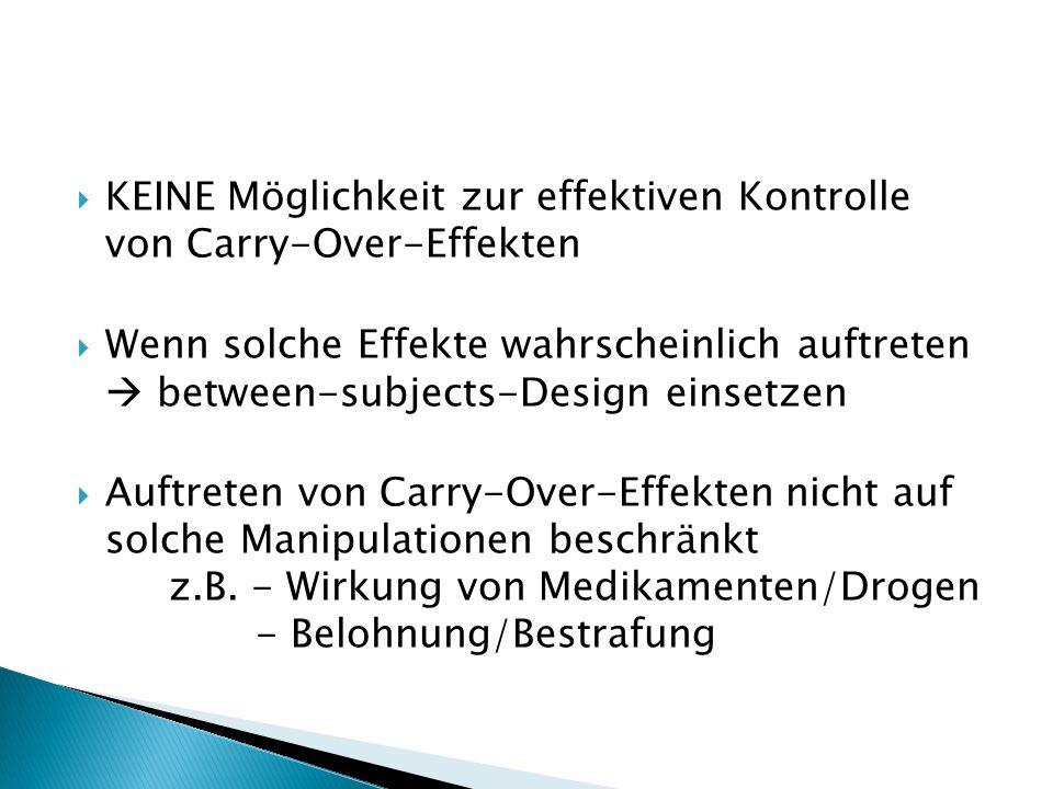 KEINE Möglichkeit zur effektiven Kontrolle von Carry-Over-Effekten