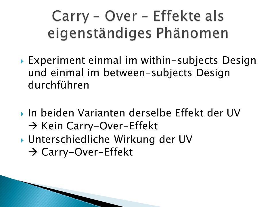 Carry – Over – Effekte als eigenständiges Phänomen