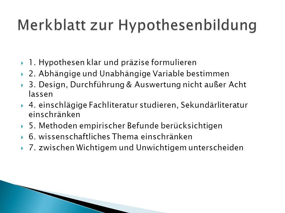Merkblatt zur Hypothesenbildung