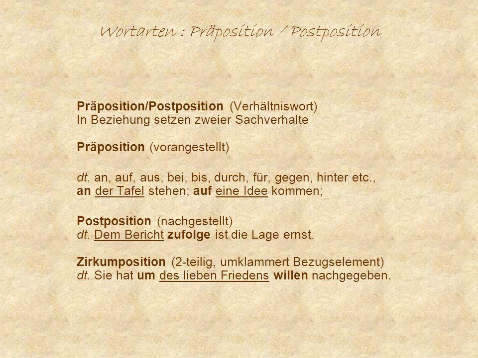 Wortarten : Präposition / Postposition
