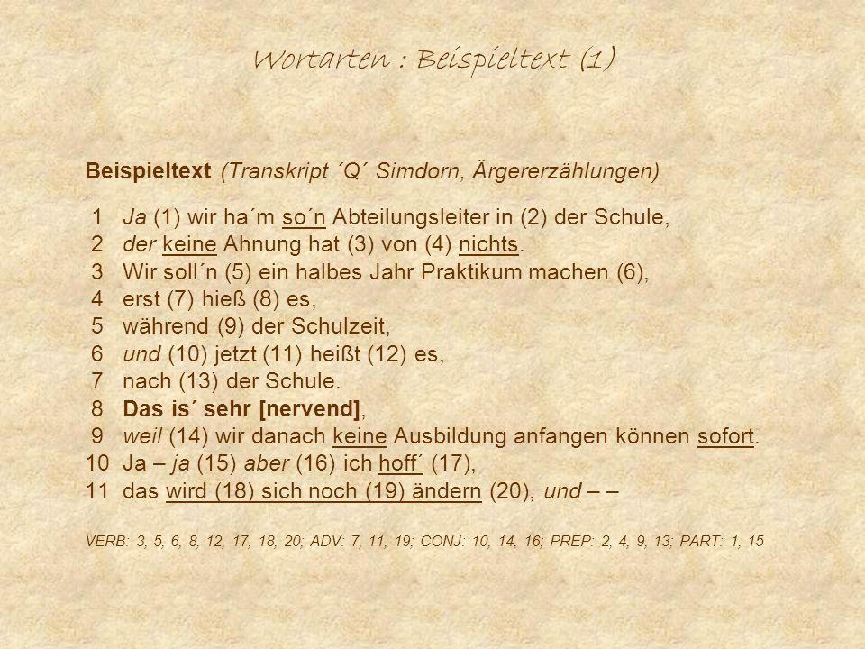 Wortarten : Beispieltext (1)