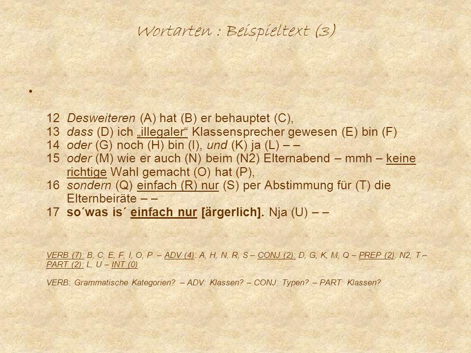 Wortarten : Beispieltext (3)