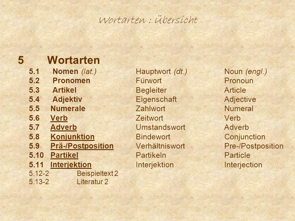 Wortarten : Übersicht