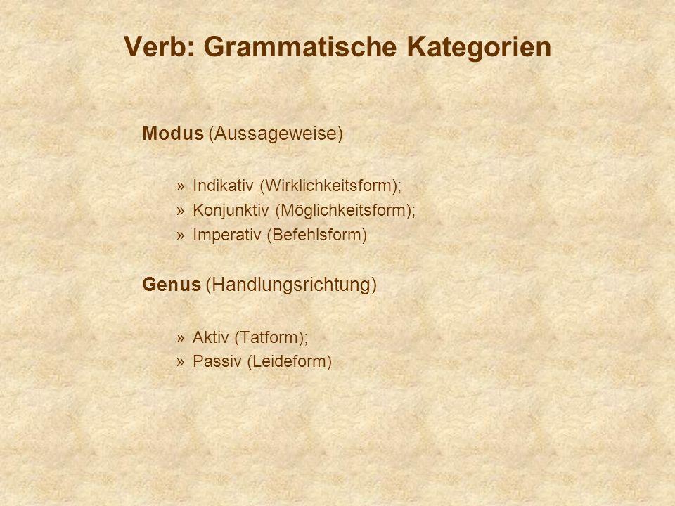 Verb: Grammatische Kategorien