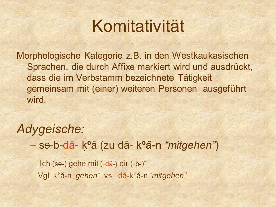 """Komitativität Adygeische: """"Ich (sə-) gehe mit (-dă-) dir (-b-)"""