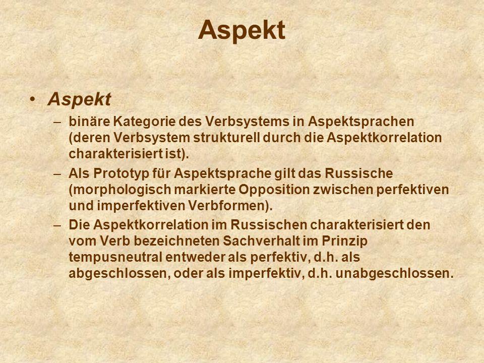 AspektAspekt. binäre Kategorie des Verbsystems in Aspektsprachen (deren Verbsystem strukturell durch die Aspektkorrelation charakterisiert ist).