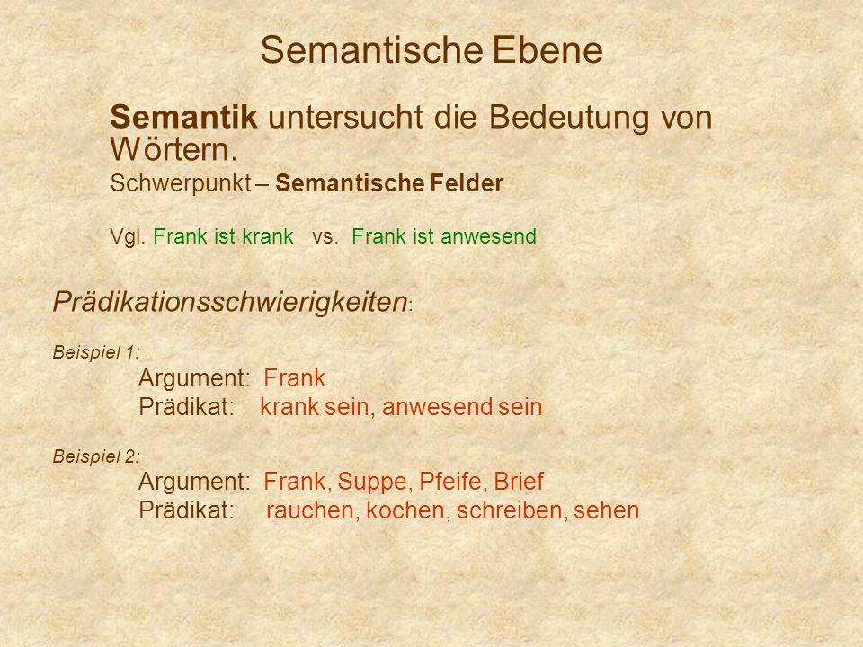 Semantische Ebene Semantik untersucht die Bedeutung von Wörtern.