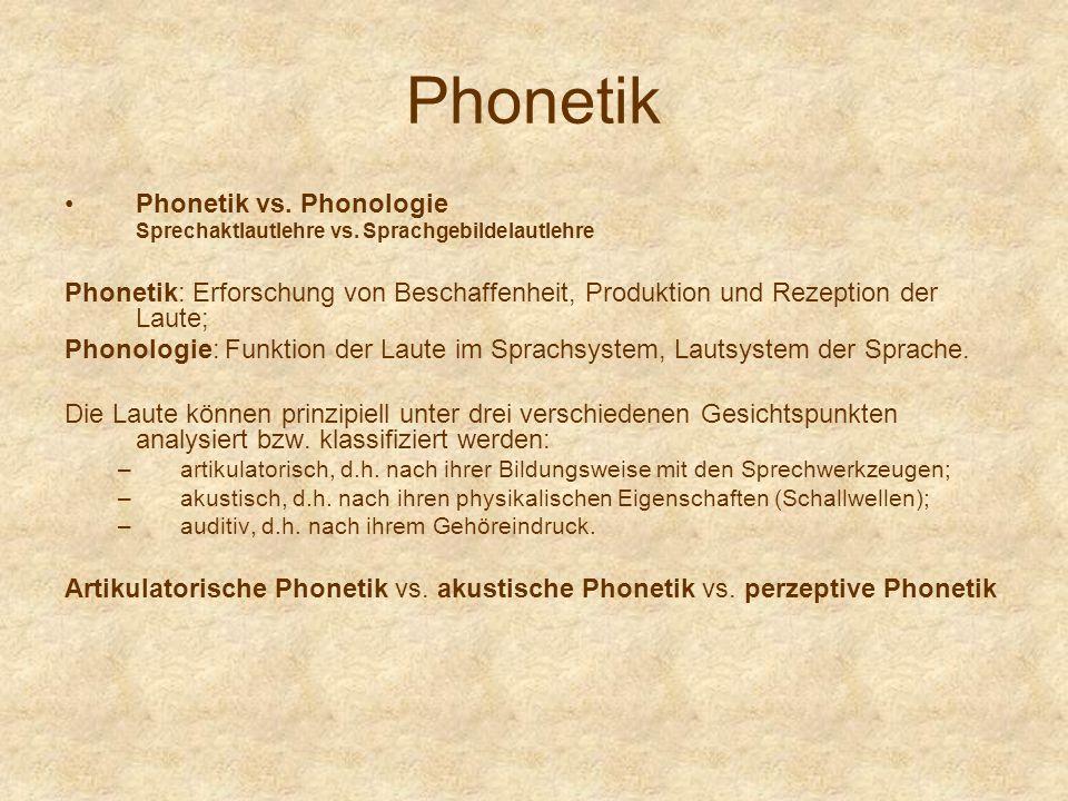Phonetik Phonetik vs. Phonologie