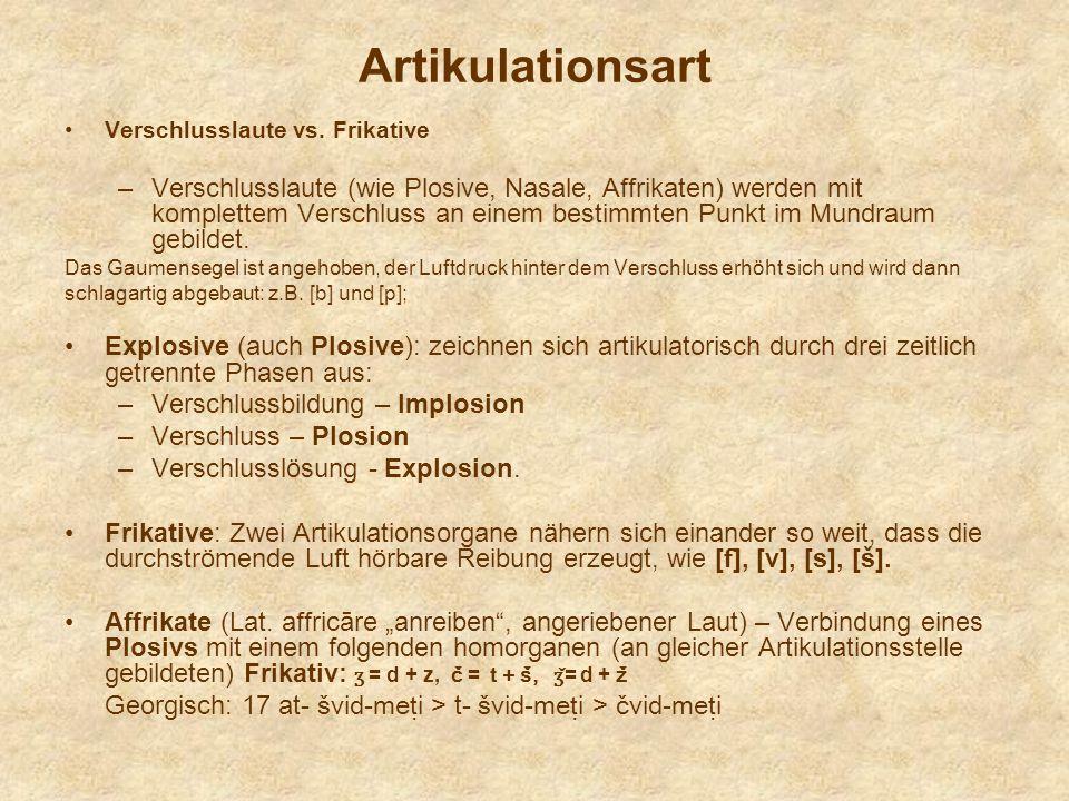 Artikulationsart Verschlusslaute vs. Frikative.