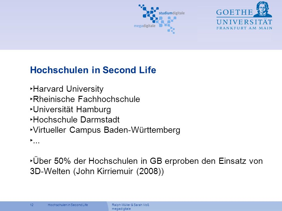 Hochschulen in Second Life