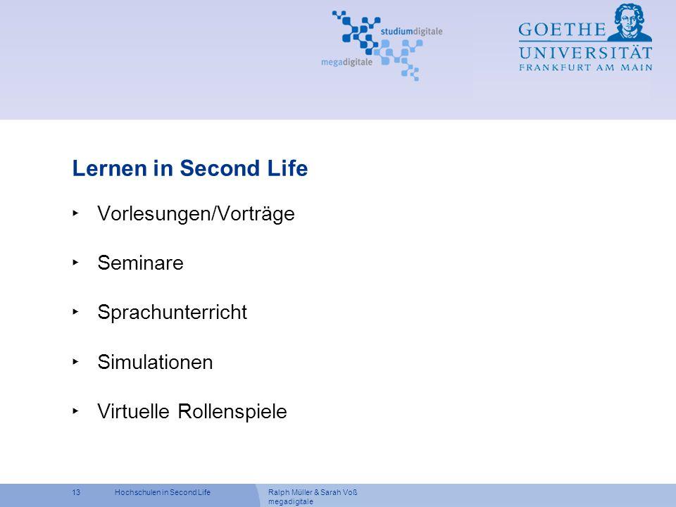 Lernen in Second Life Vorlesungen/Vorträge Seminare Sprachunterricht