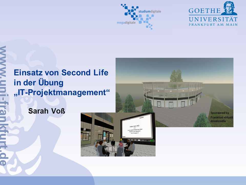 "Einsatz von Second Life in der Übung ""IT-Projektmanagement"