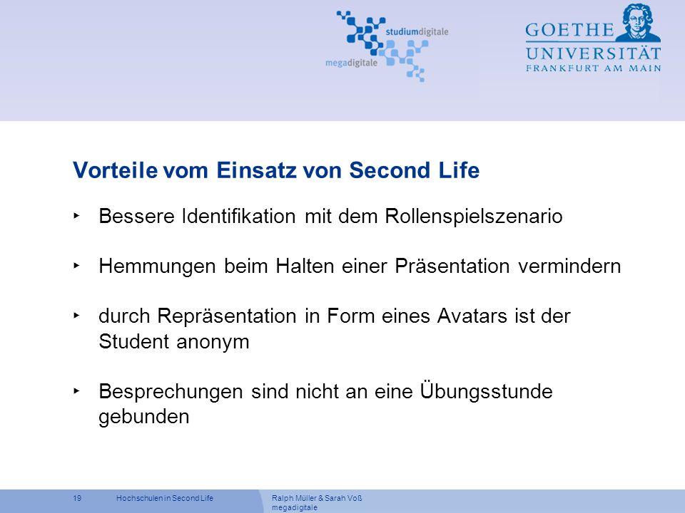 Vorteile vom Einsatz von Second Life