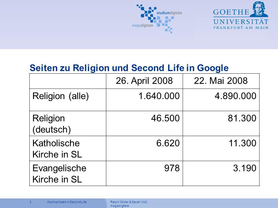 Seiten zu Religion und Second Life in Google