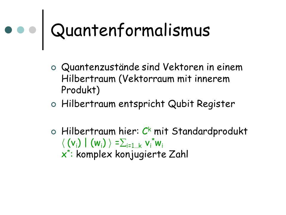 Quantenformalismus Quantenzustände sind Vektoren in einem Hilbertraum (Vektorraum mit innerem Produkt)