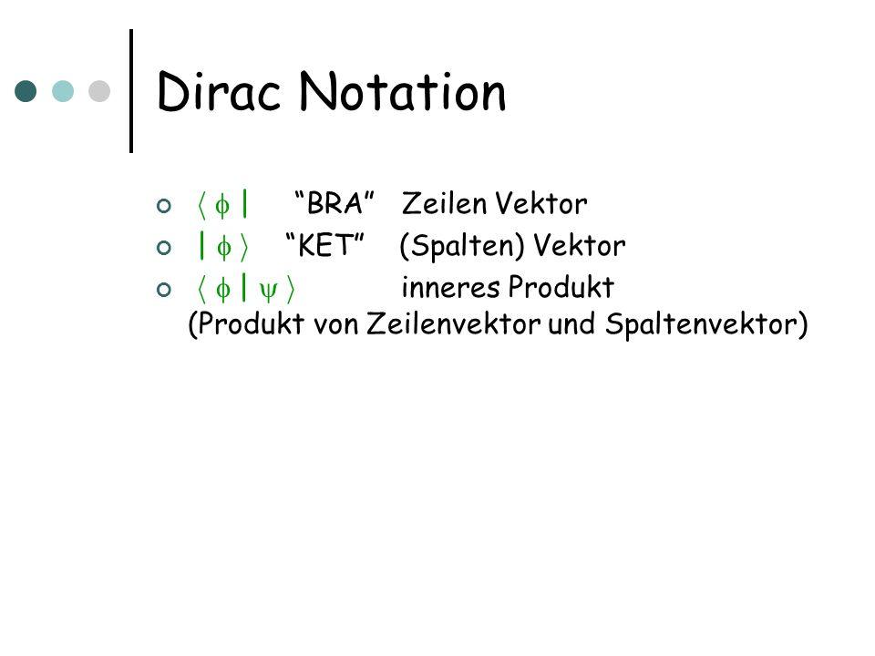 Dirac Notation h  | BRA Zeilen Vektor |  i KET (Spalten) Vektor