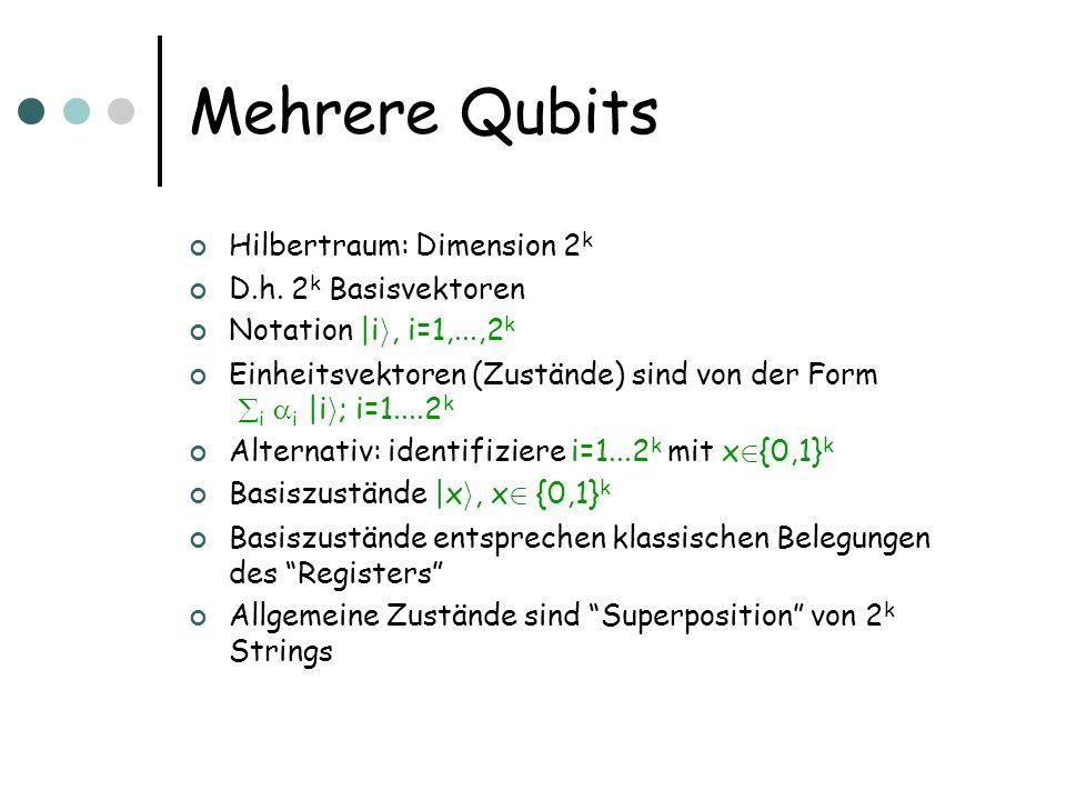 Mehrere Qubits Hilbertraum: Dimension 2k D.h. 2k Basisvektoren