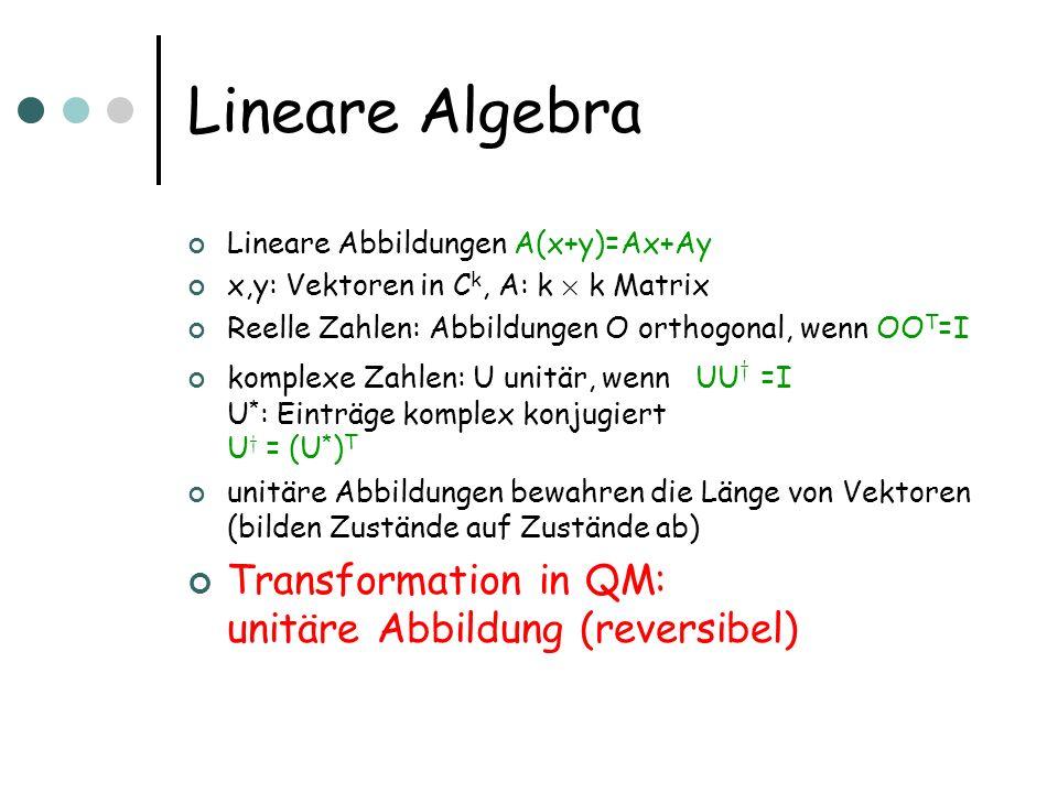 Lineare Algebra Transformation in QM: unitäre Abbildung (reversibel)