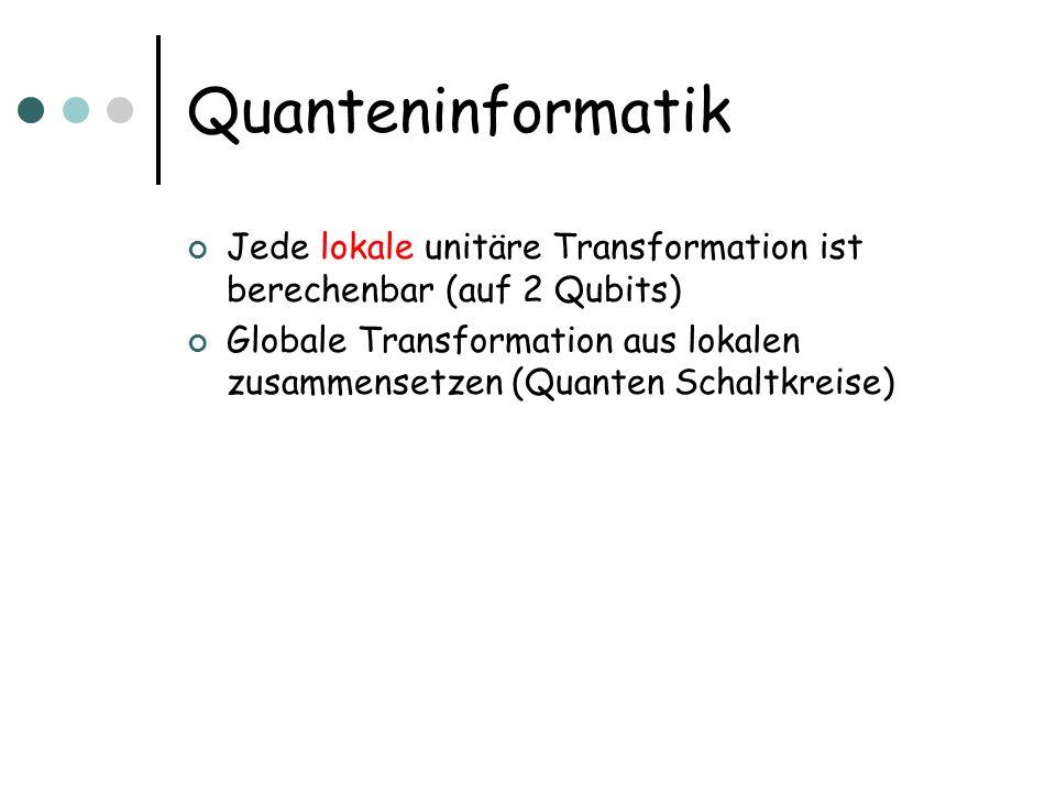 Quanteninformatik Jede lokale unitäre Transformation ist berechenbar (auf 2 Qubits)