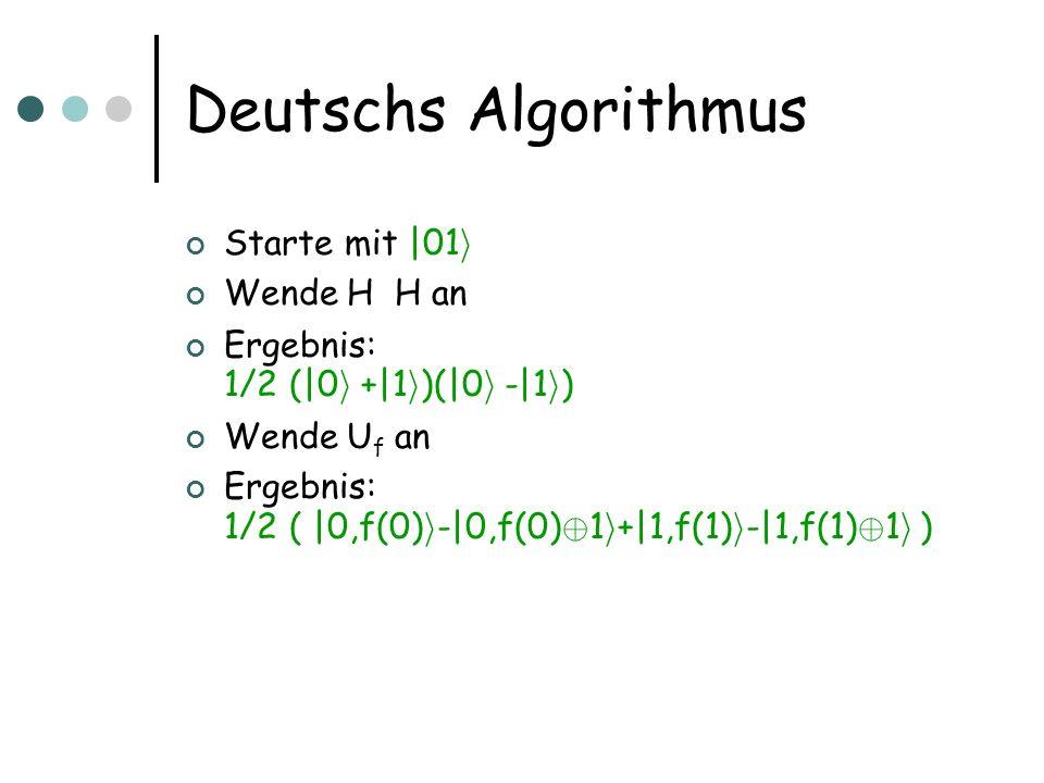 Deutschs Algorithmus Starte mit |01i Wende H  H an