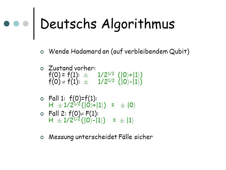 Deutschs Algorithmus Wende Hadamard an (auf verbleibendem Qubit)
