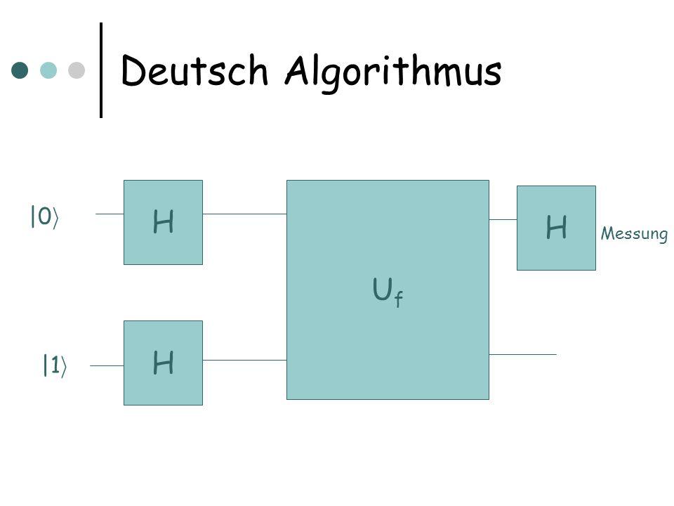 Deutsch Algorithmus H Uf H |0i Messung H |1i