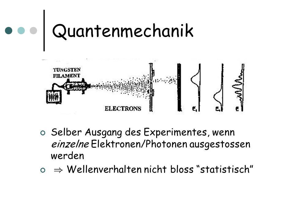 Quantenmechanik Selber Ausgang des Experimentes, wenn einzelne Elektronen/Photonen ausgestossen werden.