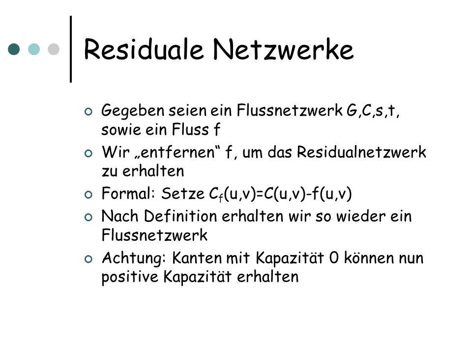 """Residuale Netzwerke Gegeben seien ein Flussnetzwerk G,C,s,t, sowie ein Fluss f. Wir """"entfernen f, um das Residualnetzwerk zu erhalten."""