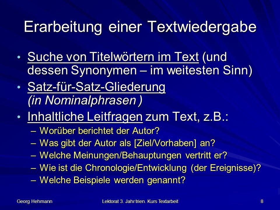 Erarbeitung einer Textwiedergabe