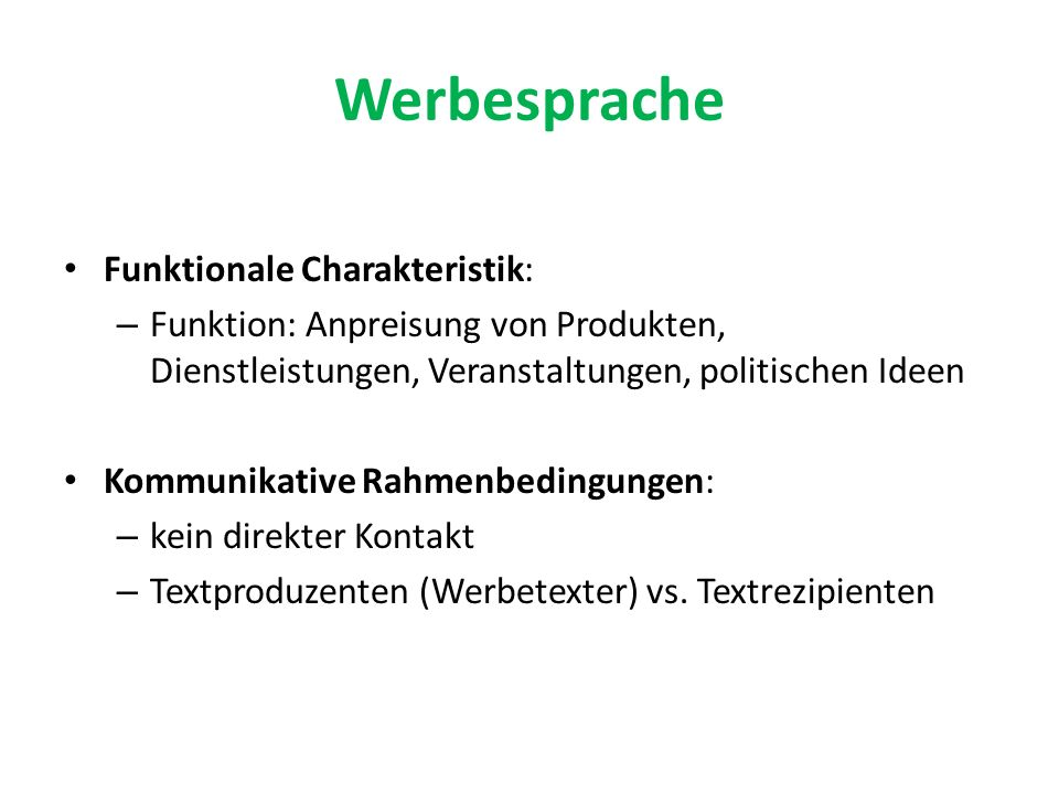 Werbesprache Funktionale Charakteristik: