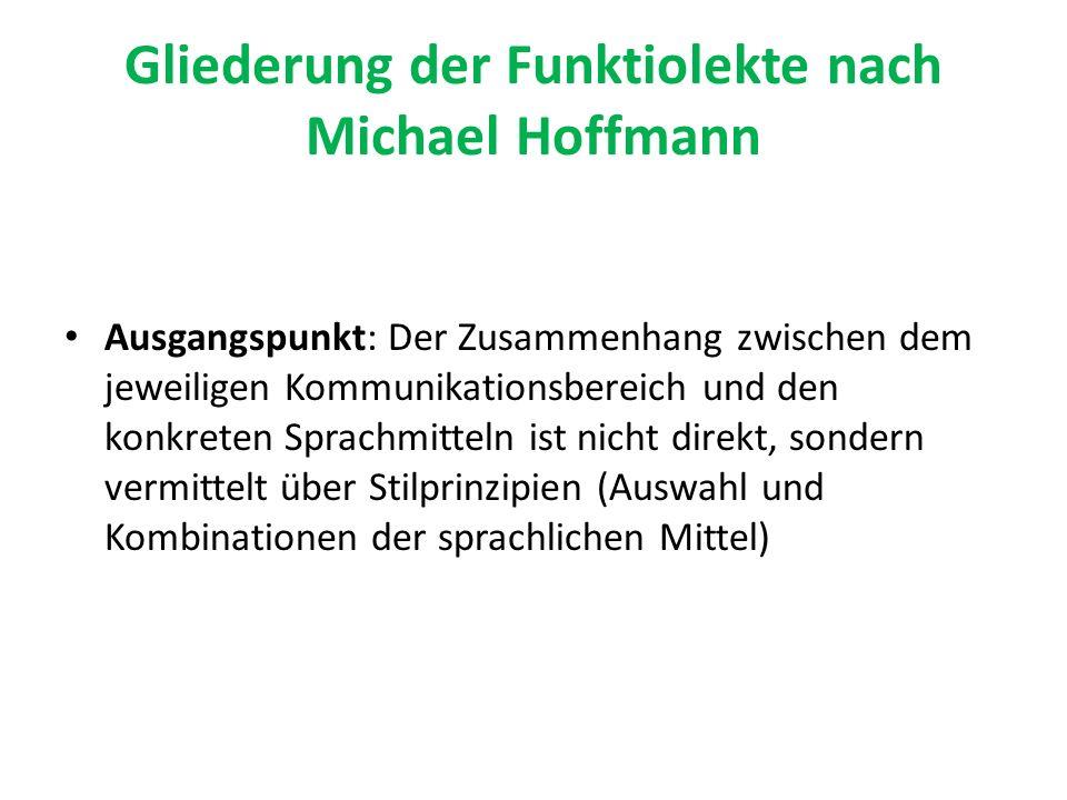 Gliederung der Funktiolekte nach Michael Hoffmann