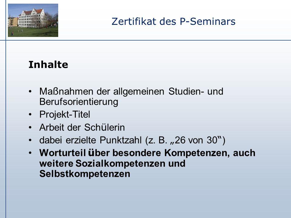 Zertifikat des P-Seminars