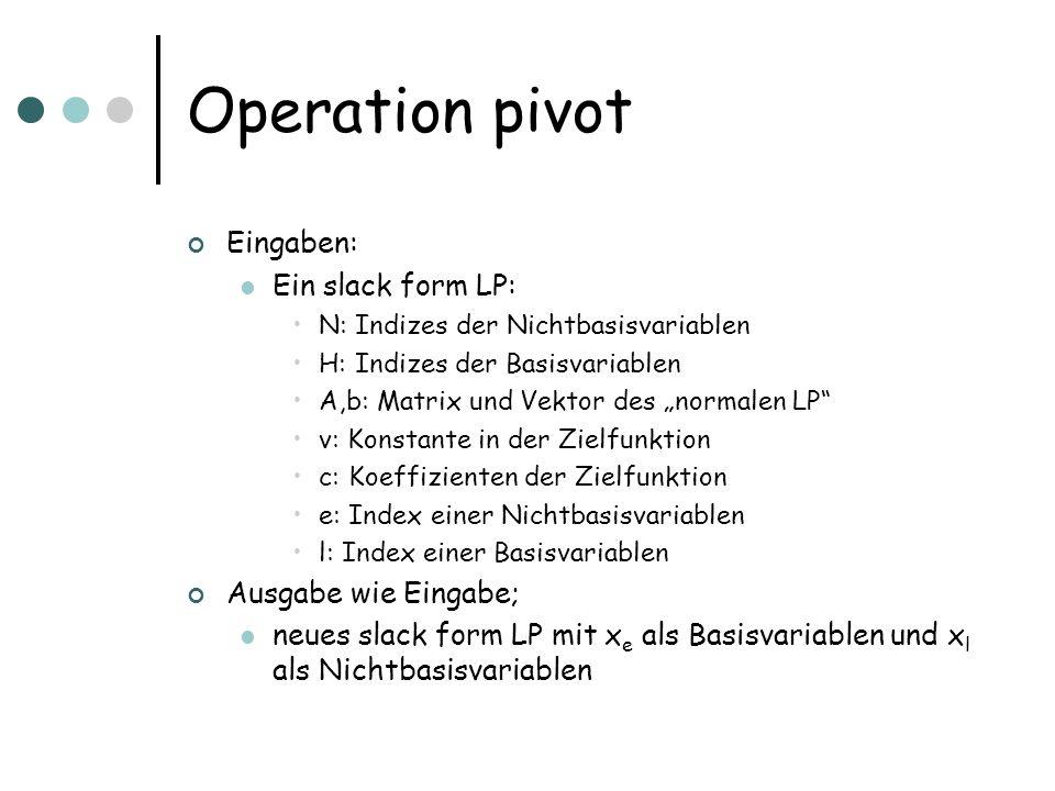 Operation pivot Eingaben: Ein slack form LP: Ausgabe wie Eingabe;