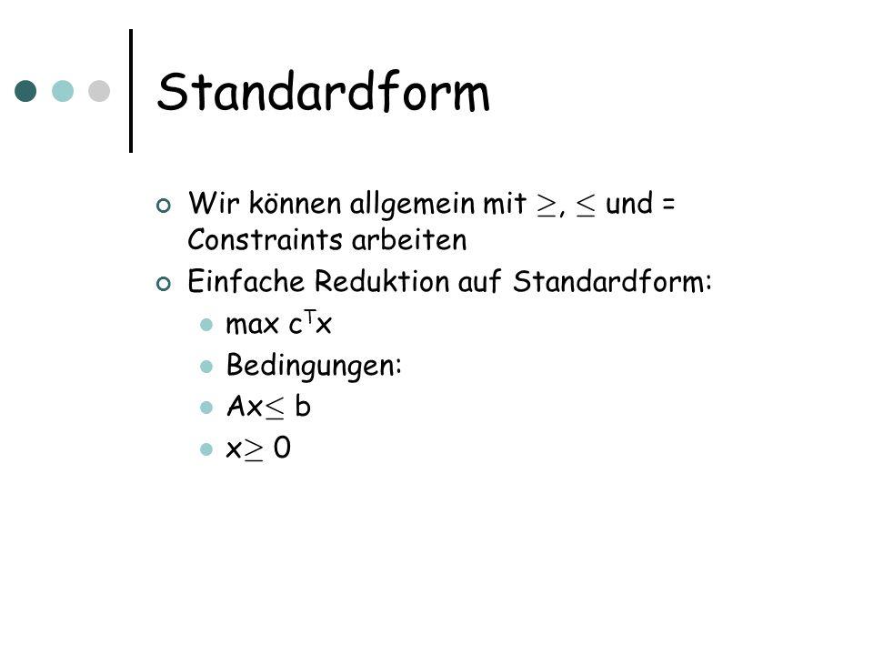 Standardform Wir können allgemein mit ¸, · und = Constraints arbeiten
