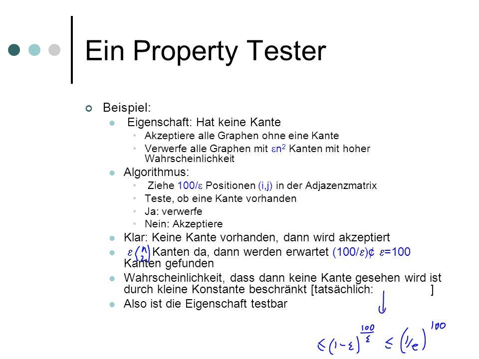 Ein Property Tester Beispiel: Eigenschaft: Hat keine Kante