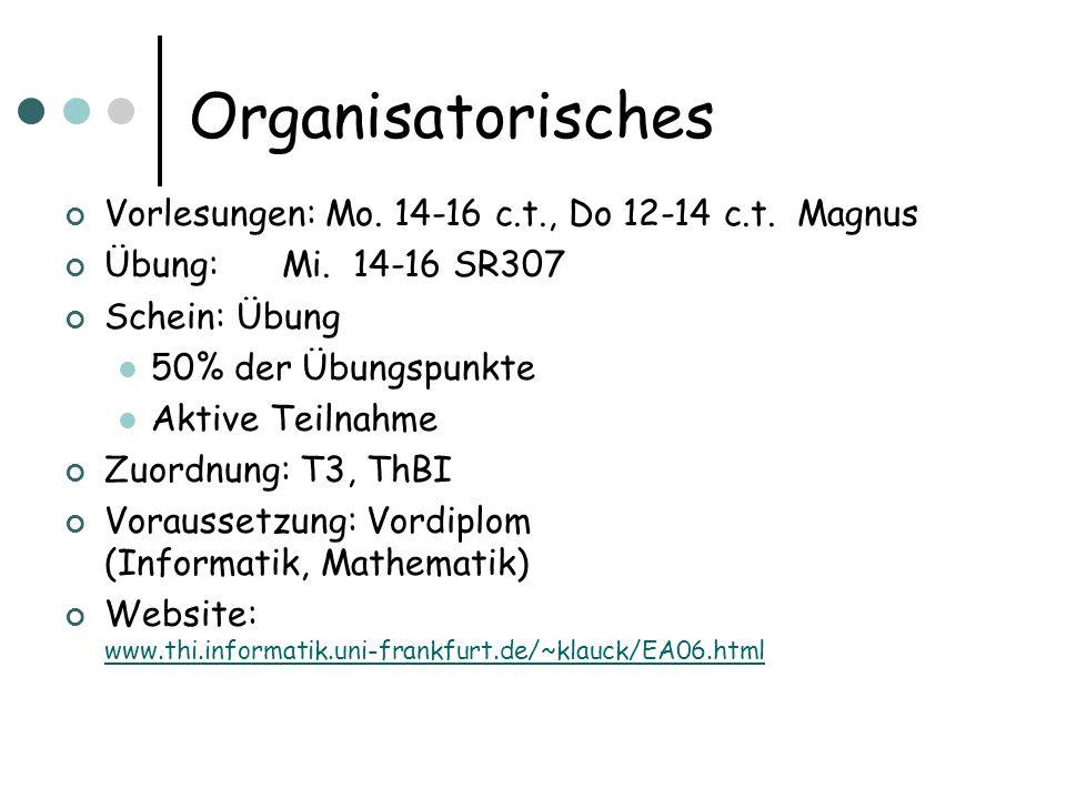 Organisatorisches Vorlesungen: Mo. 14-16 c.t., Do 12-14 c.t. Magnus