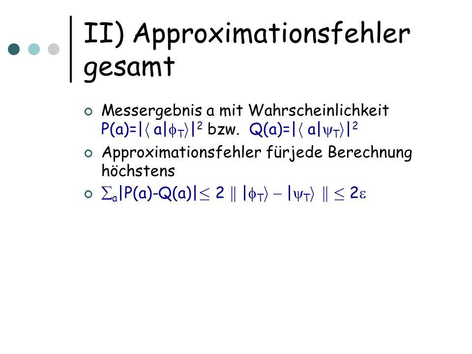 II) Approximationsfehler gesamt